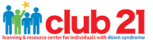 Logo for Club 21 in red with blue and green people illustrations to the left.