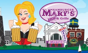 Hamburger Mary's logo featuring a woman with beers and Andersonville buildings.