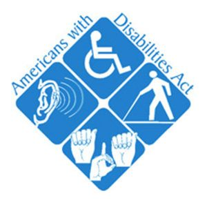 Logo with ADA on it, as well as traditional symbols for various disabilities