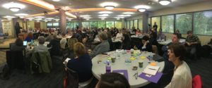 Panoramic photo of crowd at conference on housing for people with disabilities