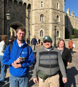 Jonathan and his friend, Ross, outside of Windsor Castle