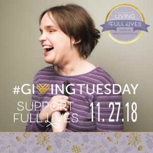 Giving Tuesday image of woman laughing in purple striped shirt