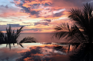 Sunset in Costa Rica with palm trees in frame, the sky is painted different shades of blue, pink, orange, yellow, and purple.