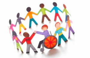 Illustrated people holding hands in a circle, demonstrating inclusion.