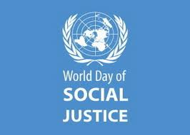 "Image with blue background, white text stating ""World Day of Social Justice"""
