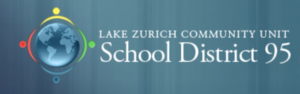 Lake Zurich School District logo with teal background and blue globe surrounded by four differently colored icons of people.