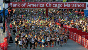 Marathon runners at the start of the Bank of American Chicago Marathon race.