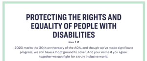 "A screenshot from Senator Warren's plan to address the needs of people with disabilities. It reads ""Protecting the rights and equality of people with disabilities"""