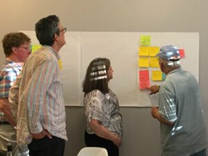 Family members and staff gather around a group of sticky notes from a planning session