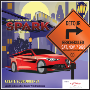 "Illustrated graphic that shows a red Alfa Romero car behind an orange construction sign reading ""Detour Rescheduled Sat. Nov 7 2020"""