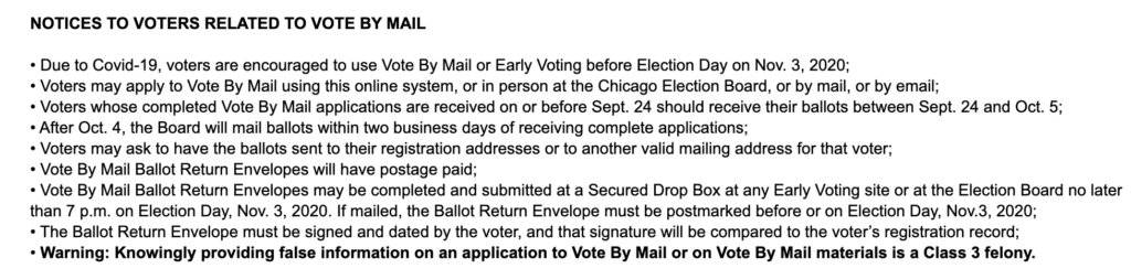 This image contains information about voting by mail for Chicago. To vote in Illinois, visit the Board of Elections website for more information.