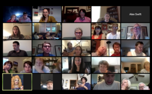 Screenshot of Zoom screen from bingo night with many faces.